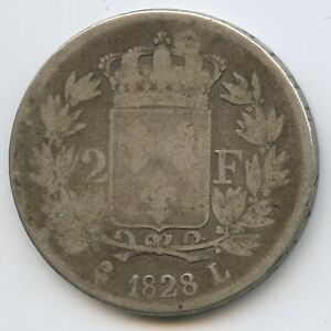 Charles X (1824-1830) 2 Francs Silver 1828 THE / OF Bayonne