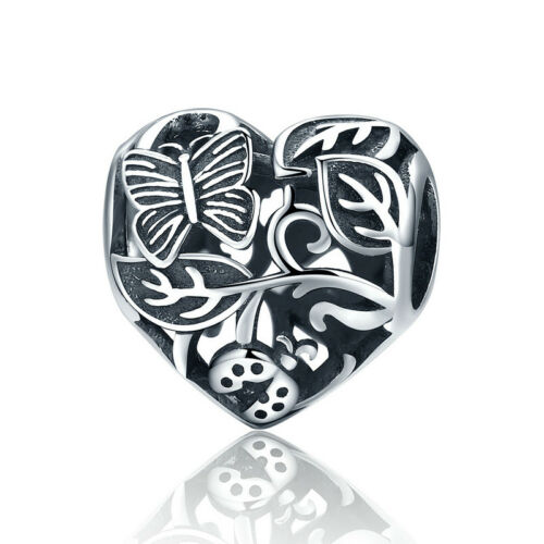 New Authentic 925 Sterling Silver Garden after the Rain Butterfly Charm Pendant