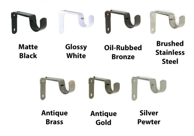 1 Piece Antique Gold Urbanest Adjustable Bracket for 1//2-inch and 5//8-inch Curtain Drapery Rod