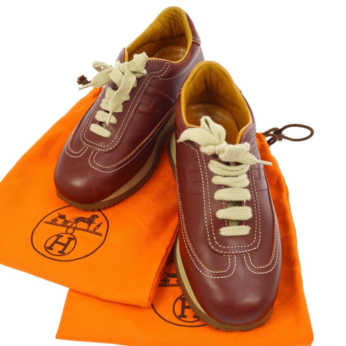 offerta speciale Authentic HERMES Vintage scarpe da ginnastica scarpe Marrone Marrone Marrone Leather  RK12395  Prezzo al piano