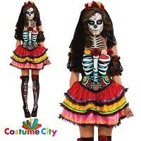 Womens Ladies Mexican Day Of The Dead Senorita Fancy Dress Halloween Costume