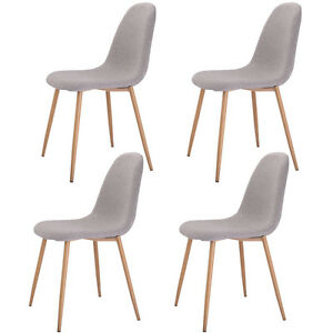 set of 4 modern dining accent side chairs wood legs home