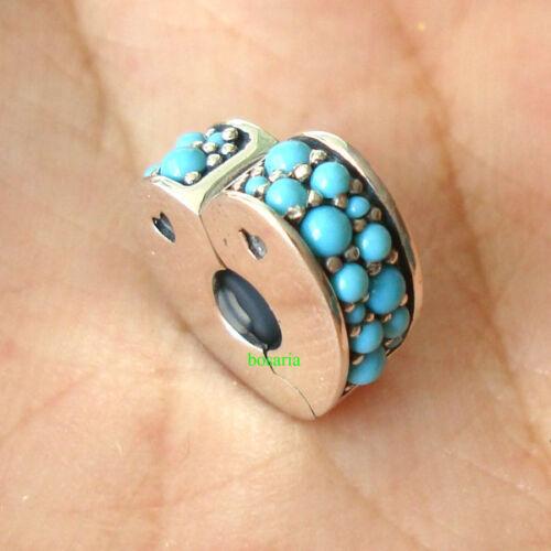 925 Sterling Silver Arcs of Love Clip Cyan Blue Crystal Fit Charm Bracelet
