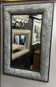 Crackle bow design wall bevelled mirror black frame mosaic glass 90x60cm new ebay - Specchio cornice nera ...