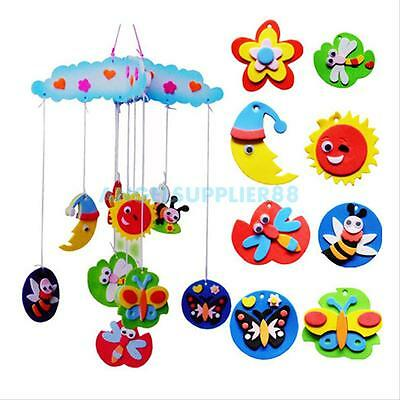 Children Kids Educational DIY Handmade Craft Toy Windbell Hang Stickers Art Kits