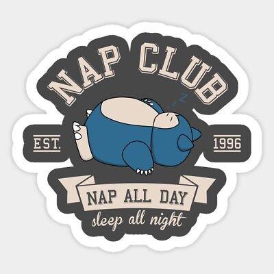 Pokemon Nap Club Snorlax Sleeping Vinyl Decal Laptop Quote Cartoon Sticker