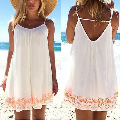 Womens Boho Strappy Casual Summer Beach Dress Bikini Cover Up Shirt Mini Dresses