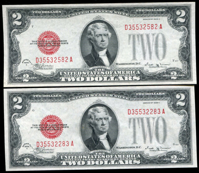 (2) CONSECUTIVE FR. 1506 1928-E $2 TWO DOLLARS USN UNITED STATES NOTES GEM UNC