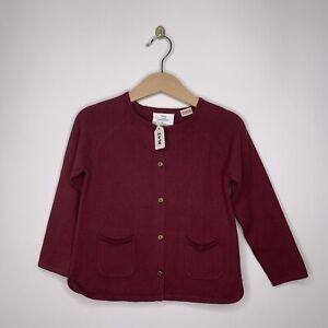 Baby Girl Zara Cardigan Knit Size 3-4 Burgundy Long Sleeve ...