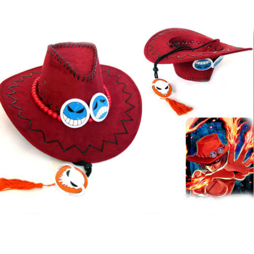 Anime One Piece Portgas·D· Ace Cowboy Hat Cosplay Hats Pirates Cap Suede Costume