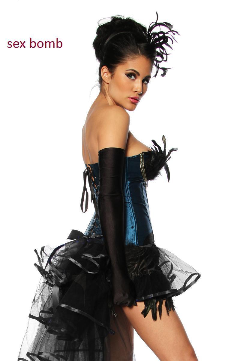 SEXY completo completo completo BURLESQUE gonna+corsetto PIUME S,M,L,XL (40, 42, 44, 46) blue black  aca41a