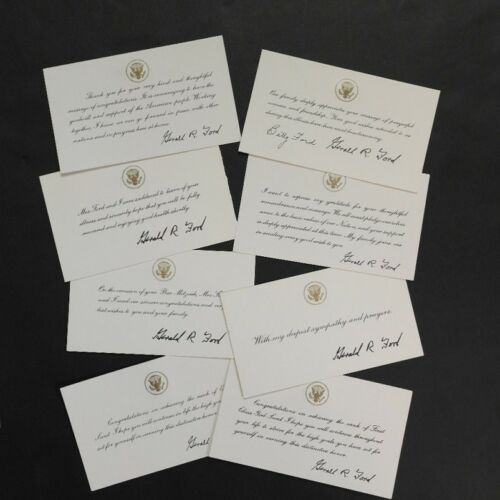 Gerald Ford Set of Eight Different White House Cards