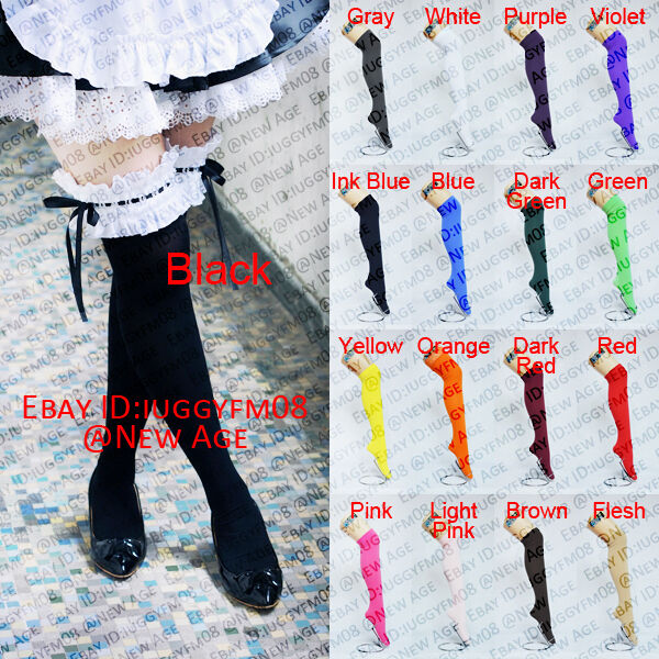 Ladies Women Girls Uniform Cosplay Velvet Lace Over Knee Thigh High Socks Colour