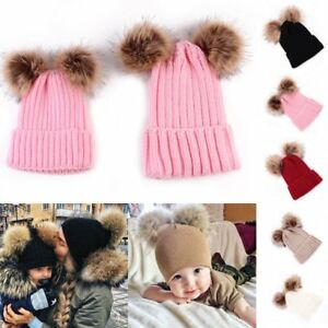 97b908dcffa Winter Outdoor Women s Warm Chunky Knit With Double Fur Pom Pom Cute ...