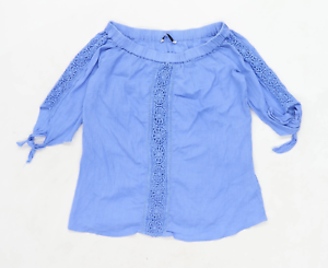 George-Womens-Size-12-Cotton-Blue-Off-The-Shoulder-Top-Regular