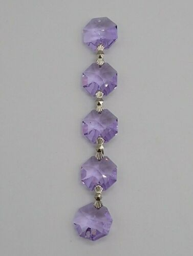 Swarovski Strass Crystal Violet 14mm 2 Hole Octagon 5pc Chain; Connector Link