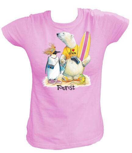 Donna T-shirt 18400-turista-Polar Bear /& Penguin Holiday vacanza ORSO PINGUINO