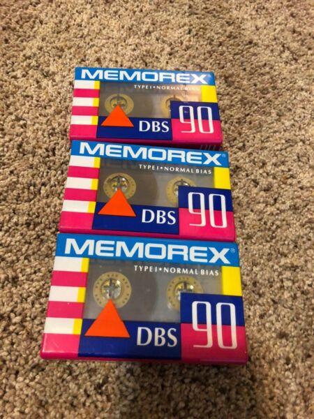 (3) Memorex Dbs 90 Minute Blank Audio Cassettes Sealed
