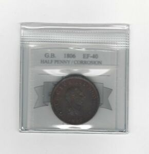 1806-Great-Britain-Half-Penny-KM-662-Coin-Mart-Graded-EF-40-Corrosion