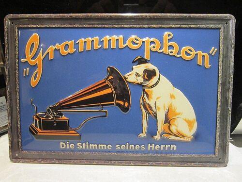 HMV METAL ADVERTISING SIGN 30x20cm NIPPER 3D HIS MASTERS VOICE  :EMBOSSED