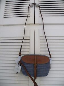 034-FOSSIL-034-Kendall-Cross-Body-Bag-Denim-Tan-Saddle-Brown-BNWT