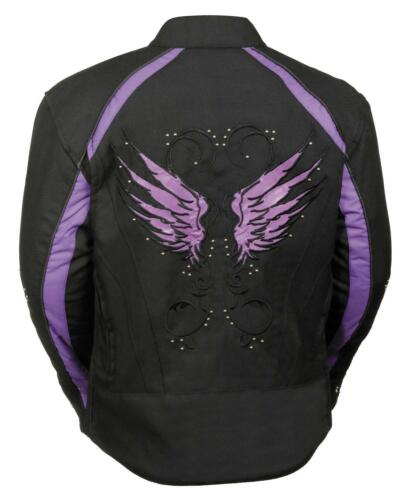 Ladies Black Nylon Motorcycle Jacket with Purple Wings /& Stud Detailing