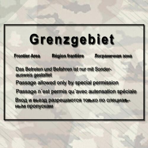 Border areas GDR Wall Warning Sign Wall Tattoo 45x30cm A295