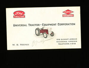 Vintage universal tractor equipment corporation business card ford image is loading vintage universal tractor equipment corporation business card ford colourmoves