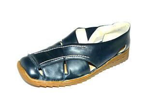 RIEKER dunkel blaue Sommer Slipper Damen 38,5 G UK 5,5 Leder