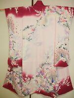 Vintage Japanese Silk Kimono Dress FURISODE, Peacock, Ume, Pink K902