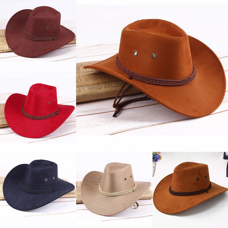 Retro Western Style Wollfilz Cowboyhut mit breiter Krempe Cowgirl Classic Cap