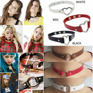 Hot-PU-Leather-Choker-Harajuku-Punk-Rock-Collar-Gothic-Heart-Ring-Charm-Necklace