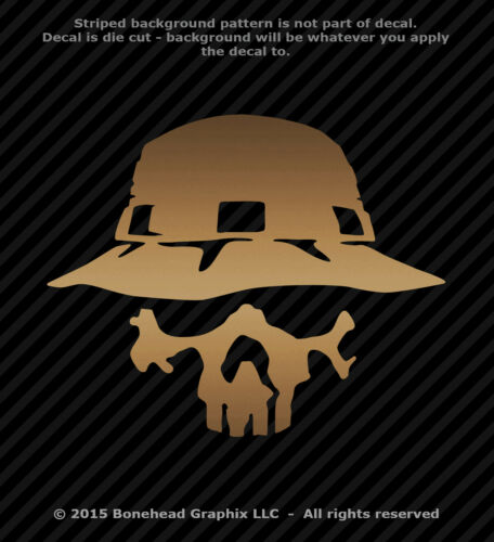 Boonie Hat Skull Vinyl Decal Military Fishing Army Window Sticker 25 Colors