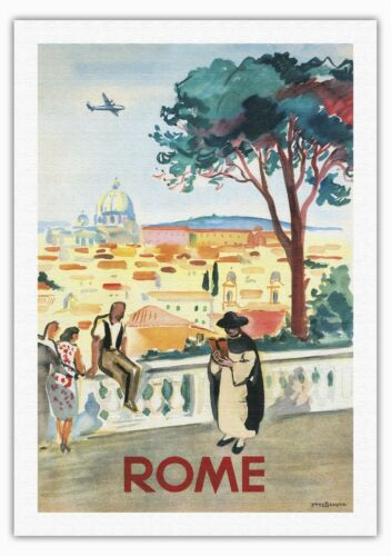 Peters Basilica Vintage Airline Travel Art Poster Print Giclee Rome Italy St
