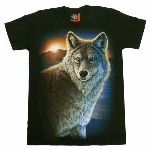 Taille S M L XL biker indien cow-boy Lobo Force Animal T-shirt LOUP PORTRAIT Loups