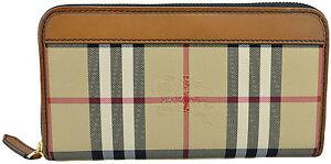 650-Burberry-marron-toile-carreaux-Continental-Zip-Portefeuille-En-Cuir-Nouvelle-Collection