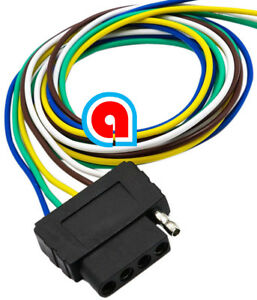5-Way Trailer Wiring Connection Kit Flat Wire Extension Harness for on 4 way flat mounting bracket, 4 way flat cover, 4 wire harness, 4 way flat connectors,