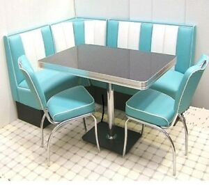 Details zu Retro Furniture 50s American Diner Restaurant Kitchen Corner  Booth Set 130 x 180