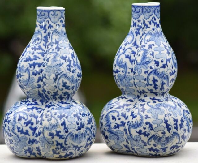 Pair Chinese Qianlong Blue White Double Gourd Vases Marked Bats