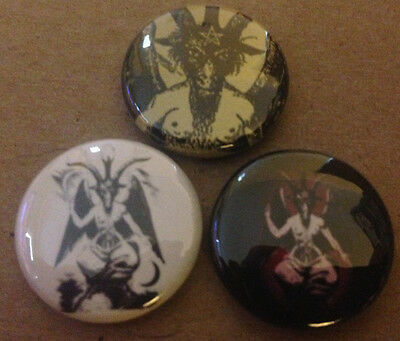 "BAPHOMET  set of 3 1"" buttons pin pinback EVIL Witchcraft SATAN devil horror"