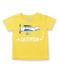 OLD BIPLANE SMOKE NAME Personalised Baby// Children t-shirt EMAIL NAME