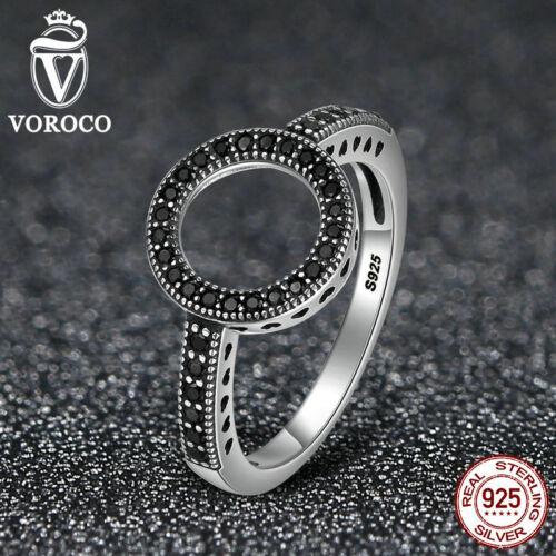 Voroco Europea S925 Anillo de plata esterlina con auténticas joyas de cristal claro