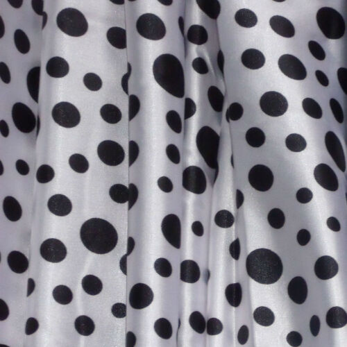 STRETCH SATIN PRINT-MULTISPOT-WHITE//BLACK DRESS FABRIC-FREE P/&P