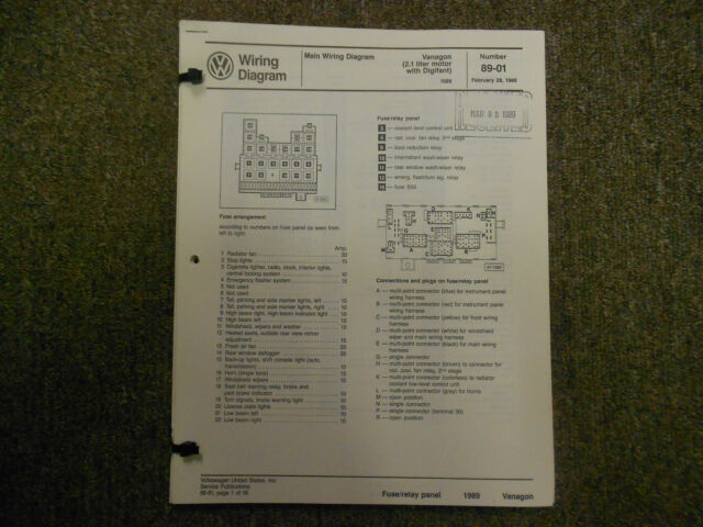1989 Vw Vanagon 450 Watt Radiator Stereo Seats Wiring Diagram Service Manual Oem