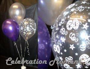 Image Is Loading 60th BIRTHDAY Balloon Party Decoration PURPLE Amp SILVER