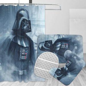 Star Wars Darth Vader Bathroom Rugs Set 4PCS Shower Curtain Toilet Seat Cover