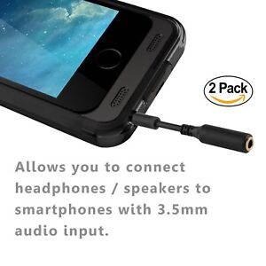 official photos 7b0c8 f88fe Details about 2 Pack 3.5mm Headset Audio Jack Extender Headphone Adapter  FOR BATTERY CASE