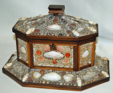 Antique Victorian Large Sailor Valentine Shell Dresser Box Folk Art Love Token