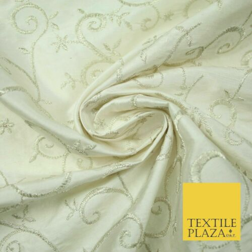 """Luxury IVORY SILVER Intricate Vine Embroidered 100/% PURE SILK Fabric 44/"""" 4523"""