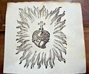 Sacro-Cuore-di-Gesu-039-con-fiamme-antico-santino-STAMPA-Ex-VOTO-carta-filigranata